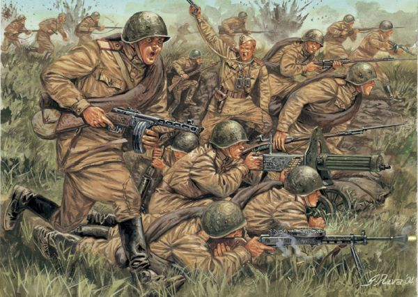 Image 0 of Italeri 1/72 WWII Russian Infantry (46 w/2 Horses)