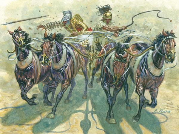Italeri 1/32 Gladiators w/Quadriga (Chariot w/4 Horses & 2 Figs)