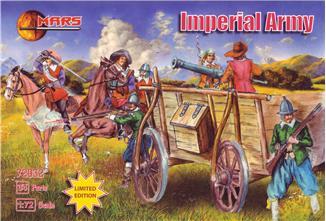 Mars Figures 1/72 Thirty Years War Imperial Army (9 w/Horses, Wagon, Gun)