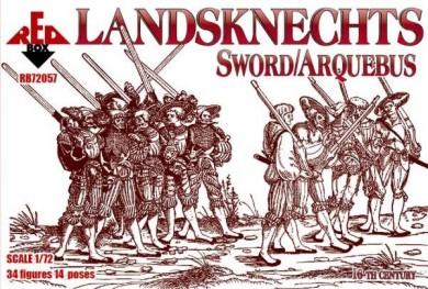 Red Box Figures  1/72 Landsknechts Soldiers w/Sword/Arquebus Weapons XVI Century