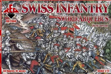 Red Box Figures  1/72 Swiss Infantry w/Sword/Arquebus Weapons XVI Century