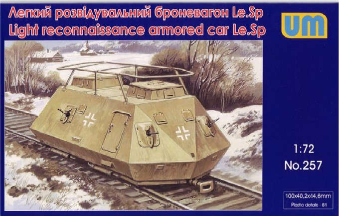 Image 0 of Unimodels Plastic Model Kit 1/72 LeSp Light Recon Armored Railcar (D)
