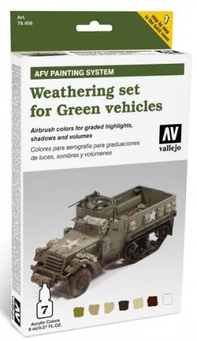 Vallejo Paints 8ml Bottle Green Vehicles AFV Weathering Set (7 Colors)