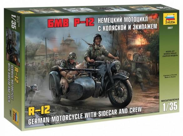 Zvezda 1/35 German R12 Motorcycle w/Sidecar & 3 Crew