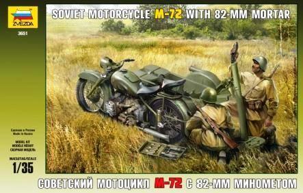 Zvezda 1/35 M72 Soviet Motorcycle w/82mm Mortar & 2 Crew