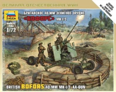 Zvezda 1/72 British Bofors 40mm Mk 1/2 AA Gun (Snap)