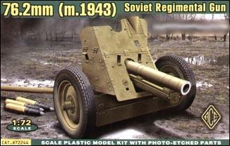 Ace Plastic Models 1/72 Soviet 76.2mm Regimental Gun Model 1943
