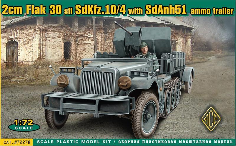 Image 0 of Ace Plastic Models 1/72 SdKfz 10/4 Halftrack w/2cm Flak 30 Gun & SdAnh 51 Ammo T