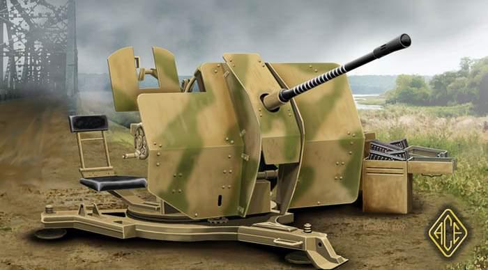 Ace Plastic Models 1/72 2cm Flak 38 WWII Artillery Gun
