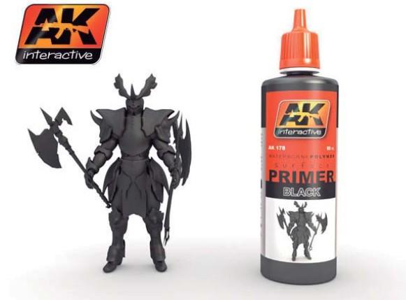 AK Interactive Black Acrylic Primer 60ml Bottle