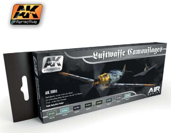 AK Interactive Air Series: Luftwaffe Camouflages Vol.1 Acrylic Paint Set (8 Colo