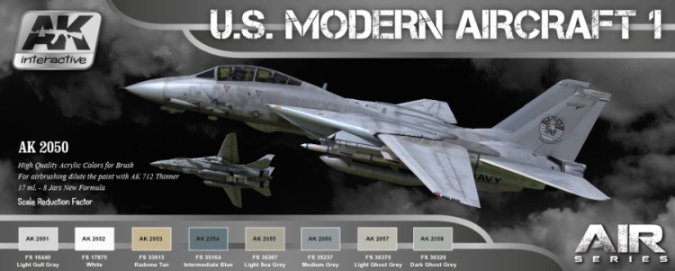 AK Interactive Air Series: US Modern Aircraft 1 Colors Acrylic Paint Set (8 Colo