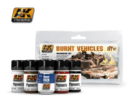 AK Interactive Burnt Vehicles Weathering Pigment Set (39, 48, 142, 143, 144)