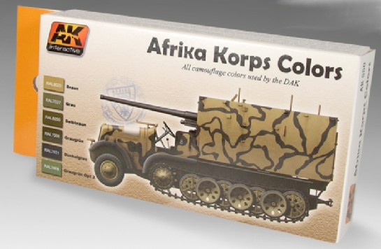 AK Interactive Afrika Korps Camouflage Acrylic Paint Set (6 Colors) 17ml Bottles