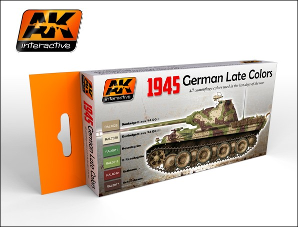 AK Interactive 1945 German Late War Acrylic Paint Set (6 Colors) 17ml Bottles