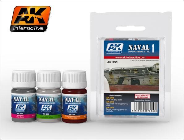 AK Interactive Naval Ships Weathering Vol.1 Enamel Paint Set (302, 303, 304)