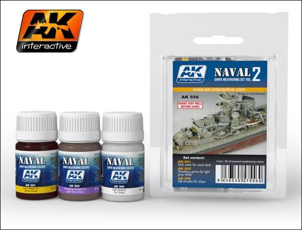 AK Interactive Naval Ships Weathering Vol.2 Enamel Paint Set (301, 305, 306)