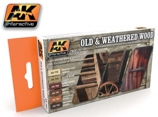 Image 0 of AK Interactive Old & Weathered Wood Vol.1 Acrylic Paint Set (6 Colors) 17ml Bott