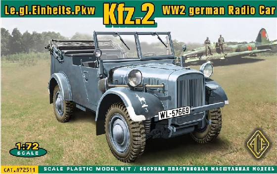 Image 0 of Ace Plastic Models 1/72 Kfz2 WWII German Radio Car
