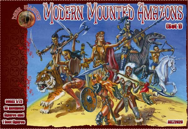 Image 0 of Dark Alliance 1/72 Modern Mounted Amazons Figures (10 & 1 foot)