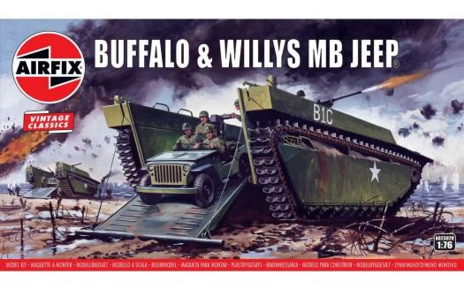 Airfix 1/76 LVT4 Buffalo & Willys Jeep