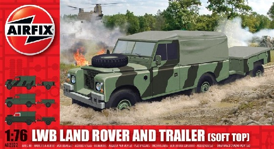 Airfix 1/76 LWB Soft Top Landrover w/Trailer