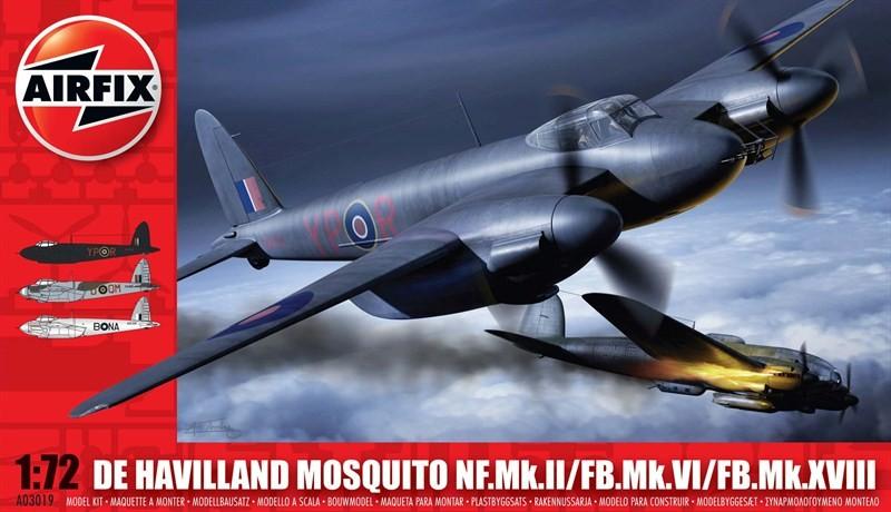 Airfix 1/72 DeHavilland Mosquito MK II/VI/XVIII Aircraft Model Kit
