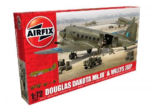 Airfix 1/72 Douglas Dakota Mk III Military Transport Aircraft w/Willys Jeep Kit