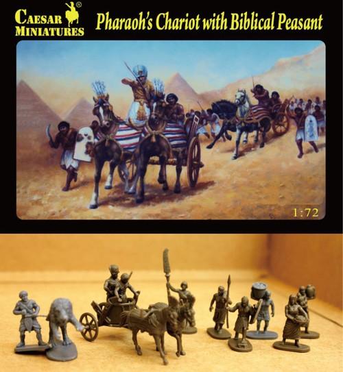 Caesar Miniatures 1/72 Pharaoh's Chariot w/2 Horses & Biblical Peasants (11)