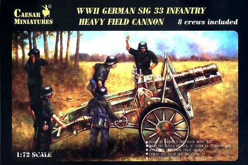 Caesar Miniatures 1/72 WWII German SiG33 Infantry Heavy Field Cannon w/8 Crew (K