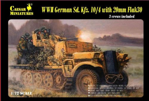 Caesar Miniatures 1/72 WWII German SdKfz 10/4 Halftrack w/20mm Flak 30 Gun & 3 C