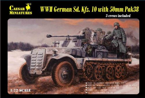 Caesar Miniatures 1/72 WWII German SdKfz 10 Halftrack w/50mm Pak 50 Gun & 3 Crew