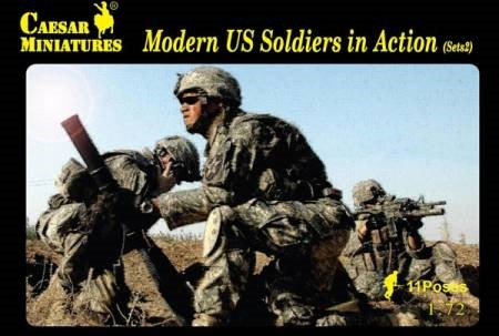 Caesar Miniatures  1/72 Modern US Soldiers in Action Set #2 (19 w/access) 94