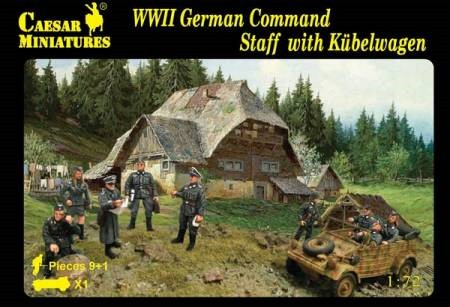 Caesar Miniatures  1/72 WWII German Command Staff (10) w/Kubelwagen Kit 95