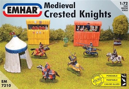 Emhar 1/72 Medieval Crested Knights (7 Mtd, 1 Foot, Grandstand & Tent)