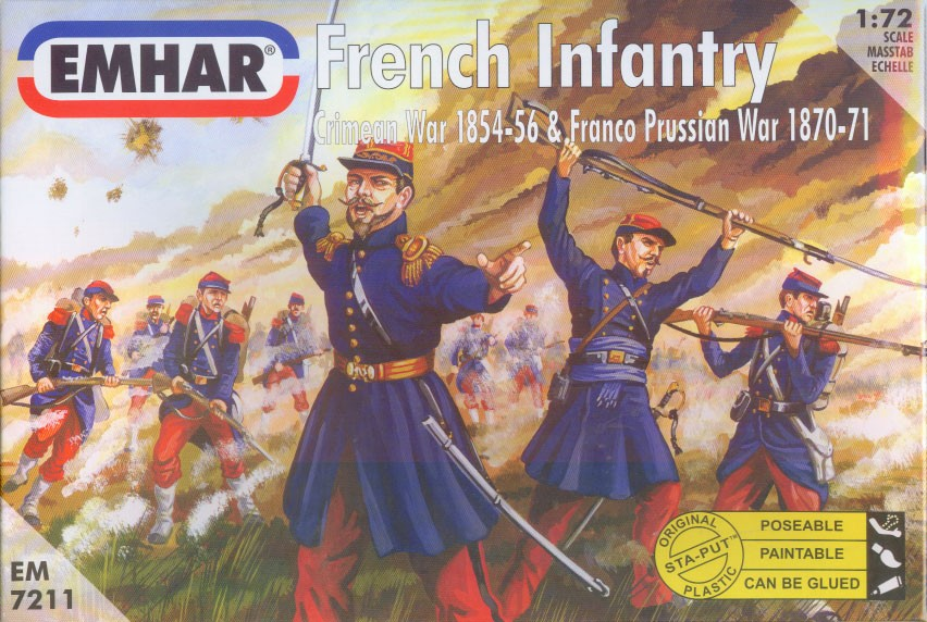 Emhar 1/72 Crimean War 1854-56 & Franco Prussian War 1870-71 French Infantry (50