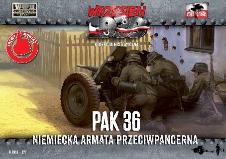 First To Fight  1/72 WWII 3,7cm Pak 36 German Anti-Tank Gun w/Crew (2)