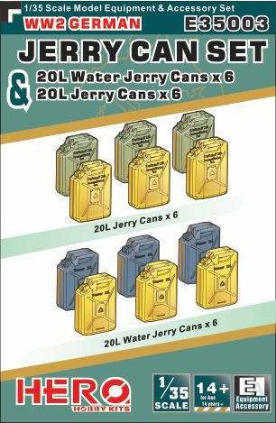 Hero Hobby Kits 1/35 WWII German Jerry Cans (6) & Water Jerry Cans (6)