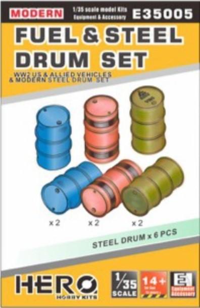 Hero Hobby Kits 1/35 WWII US/Allied & Modern Fuel & Steel Drums (6)