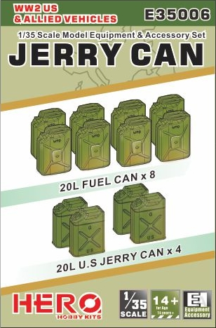 Image 0 of Hero Hobby Kits 1/35 WWII US/Allied Jerry Cans (4) & Fuel Cans (8)
