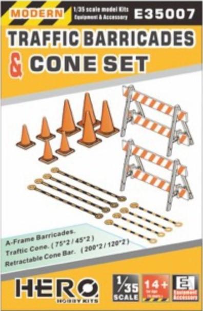 Hero Hobby Kits 1/35 Modern Traffic Barricades (2), Cones (8) & Cone Bars (8)