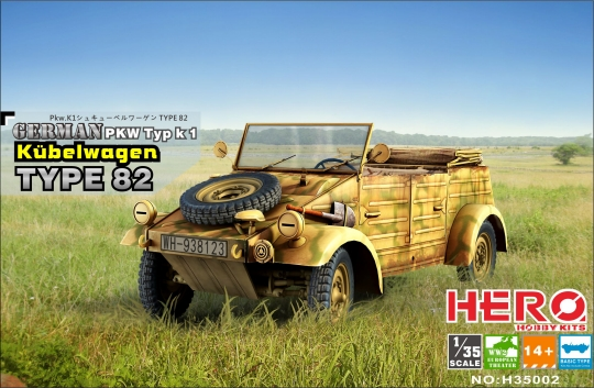 Hero Hobby Kits 1/35 WWII German PKW TypK1 Kubelwagen Type 82 Vehicle