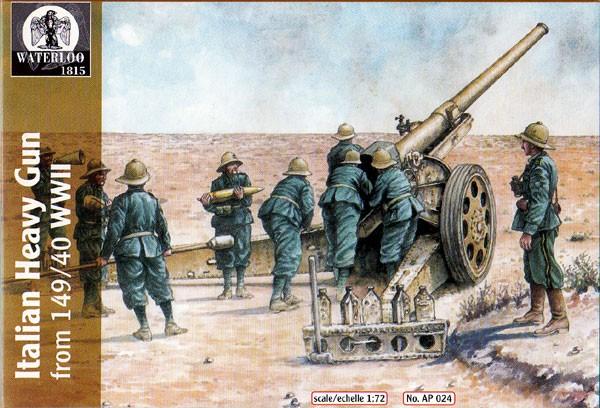 Hat 1/72 Waterloo: WWII Italian Heavy Gun Crew (9 & 1 Gun)