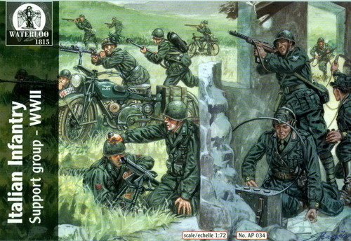 Hat 1/72 Waterloo: WWII Italian Infantry Support Group (26 w/2 Motorcycles & 2 B