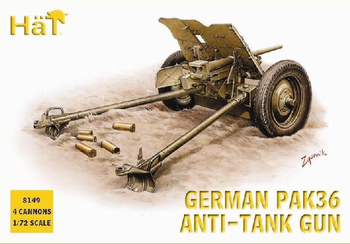 Hat 1/72 German PaK 36 Anti-Tank Gun (4) (Re-Issue)