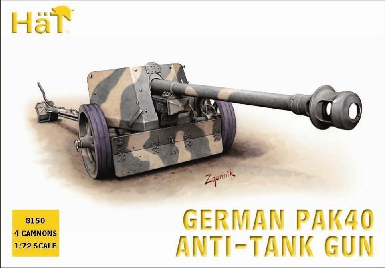 Hat 1/72 German PaK 40 Anti-Tank Gun (4) (Re-Issue)