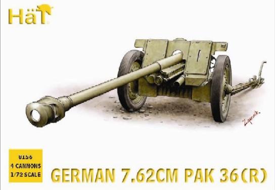 Hat 1/72 German 7.62cm PaK 36(R) Gun (4) (Re-Issue)
