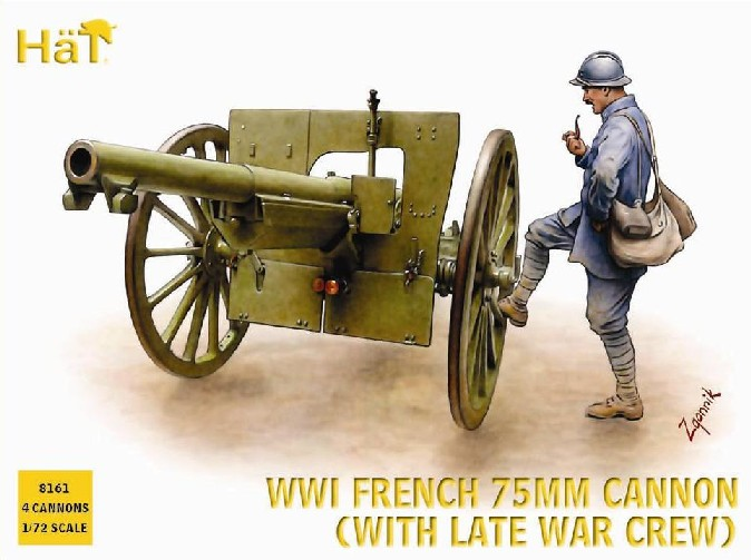 Hat 1/72 WWI Late French Artillery (48) & 75mm Cannons (4) (Re-Issue)