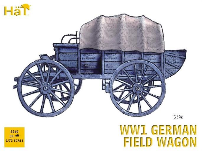 Hat 1/72 WWI German Horse Drawn Field Wagon (3 Sets)