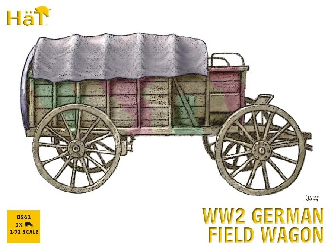 Hat 1/72 WWII German Horse Drawn Field Wagon (3 Sets) (Re-Issue)